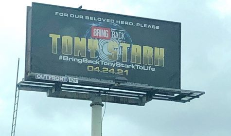 This is the billboard bought by fans in L.A. in hopes to bring Tony Stark back from the dead. Photo taken by Lights, Camera, Pod.