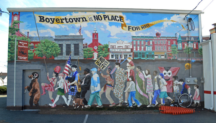 A beautiful mural in Boyertown (which was done by school students, actually) encompasses the fact that everyone will work together to get through these hard times together.