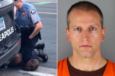 Chauvin kneeling on the kneck of George Floyd after he repeatedly stated that he could not breathe. (Left) The mugshot of former Minneapolis officer Derek Chauvin (Right)