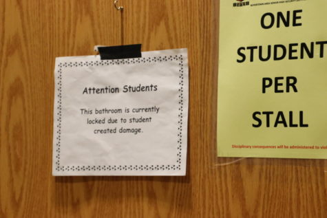 The sign posted on all of the closed bathrooms at BASH.