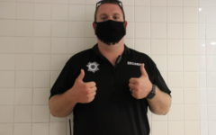 Pictured is the Security Guard Nate in the hallway.