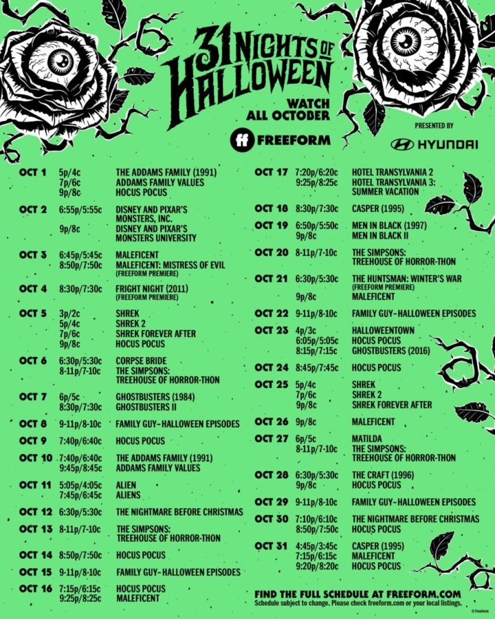 Freeforms list on movies for the 31 Nights of Halloween.