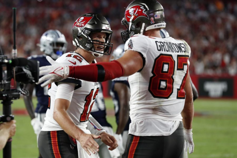 In+Thursday+Nights+season+opener+victory+against+the+Dallas+Cowboys%2C+Bucs+QB+Tom+Brady%2C+total+touchdowns+to+tight+end+Rob+Gronkowski+%28100%29+is+now+second+all+time+only+behind+former+Colts+QB+Peyton+Manning+and+wide+receiver+Marvin+Harrison+who+have+114.+