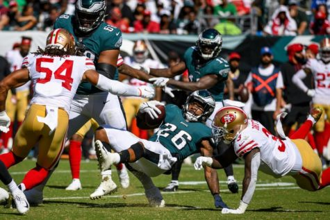 Miles Sanders getting taken down by safety Jaquiski Tartt in Eagles loss to the 49ers.