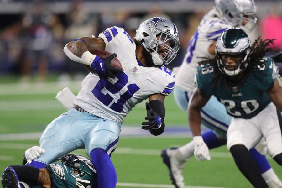 Running back Ezekiel Elliott gets fed the ball throughout the Cowboys Monday Night Football thrashing over the Eagles.