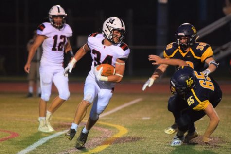 #34 Roman Marinello had a great night with 58 rushing yards and 3 total touchdowns in Boyertowns  victory over Methacton.