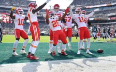 Chiefs players celebrate in the endzone after a touchdown by Darrell Williams in a 42-30 win over the Eagles.