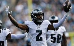 Philadelphia Eagles cornerback Darius Slay celebrates after an interception against the Carolina Panthers during the first half of the game.